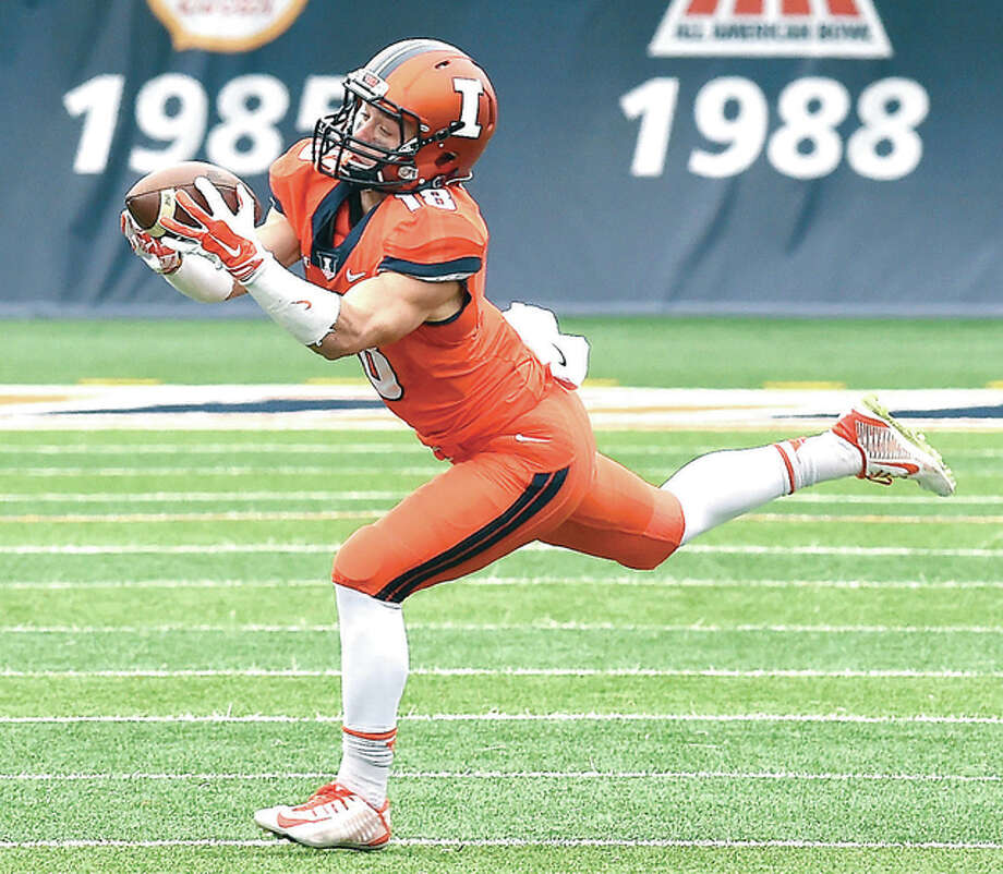 Illinois receiver Mike Dudek, shown in action in 2014, will miss the 2016 season after suffering his second torn ACL. Photo: Cary Frye File Photo | For The Telegraph