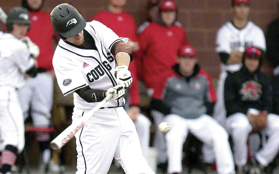 SIUE's Skyler Geissinger singled in Dustin Woodcock in the sixth inning of Saturday's loss to Belmont in the first game of a doubleheader at the Simmons Baseball Complex.