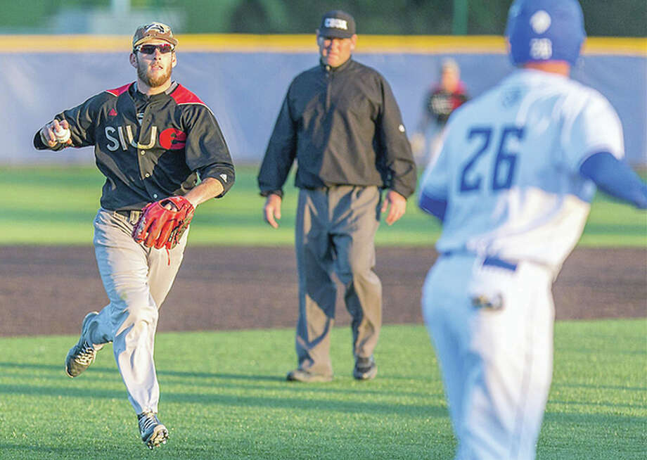 SIUE shortstop Skylar Geissinger runs at Saint Louis University baserunner Devin Mahoney after fielding a grounder during Tuesday's action at SIUE. Geissinger threw out Mahoney at home. Photo: SIUE Athletics