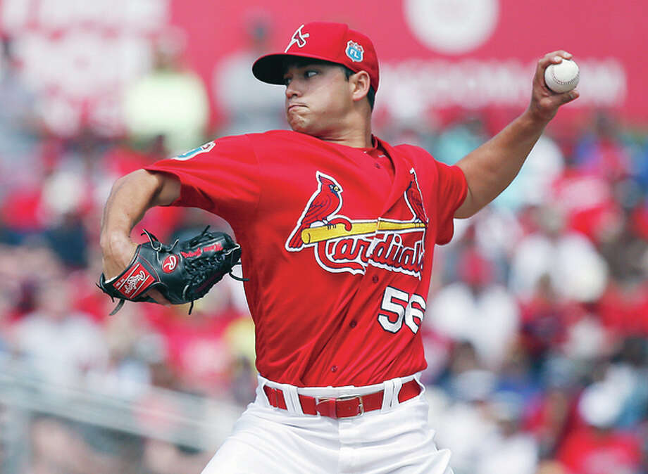 Cardinals' pitcher Marco Gonzales delivers a pitch spring training. Photo: AP