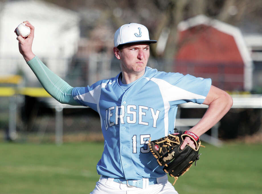 Jersey's Drake Kanallakan scattered four hits, struck out six and struck out six in Wednesday's 4-0 victory over Civic Memorial. Photo: Jamaes B. Ritter | For The Telegraph