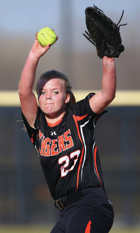 Edwardsville's Jordan Garella, shown against Civic Memorial on March 15 in Bethalto, got a complete-game win over O'Fallon on Thursday in Edwardsville. Photo: Billy Hurst / For The Telegraph