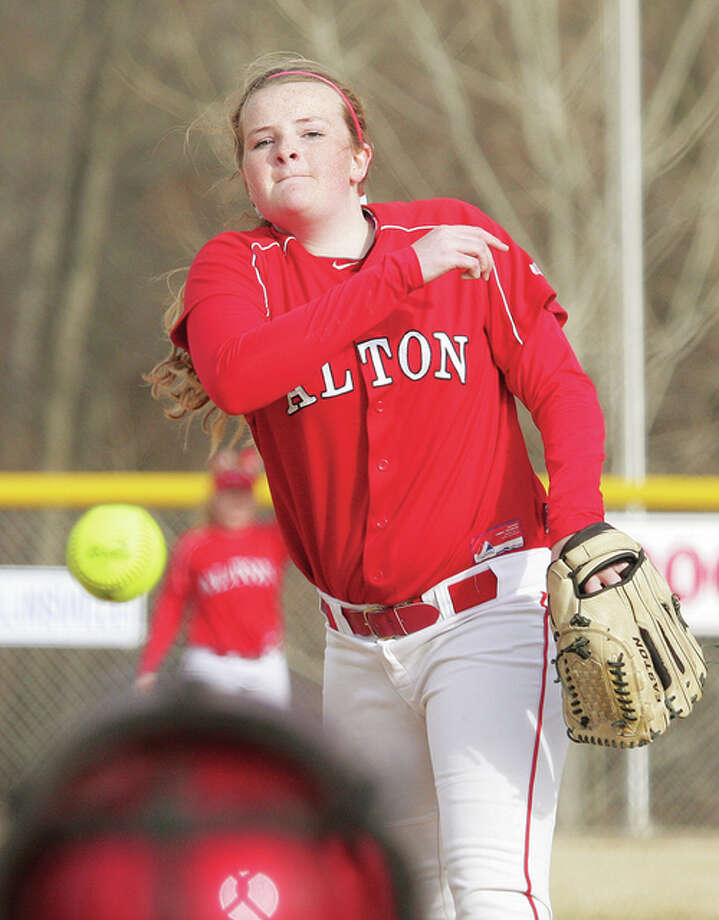 Alton pitcher Brittany Roady struck out eight and allowed three unearned runs on six hits and one walk in the Redbirds' 4-3 win over Belleville West Thursday. Photo: Telegraph File Photo