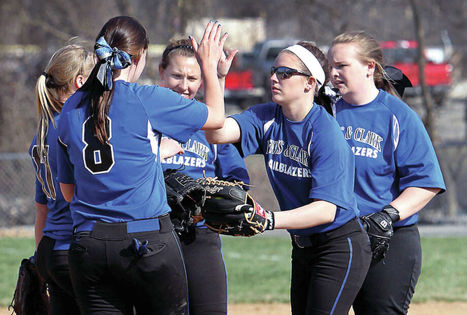 The Lewis and Clark Community College softball swept a doubleheader from Spoon River Community College Sunday to run its winning streak to six games. The Trailblazers are 26-12. Photo: LCCC Athletics File Photo