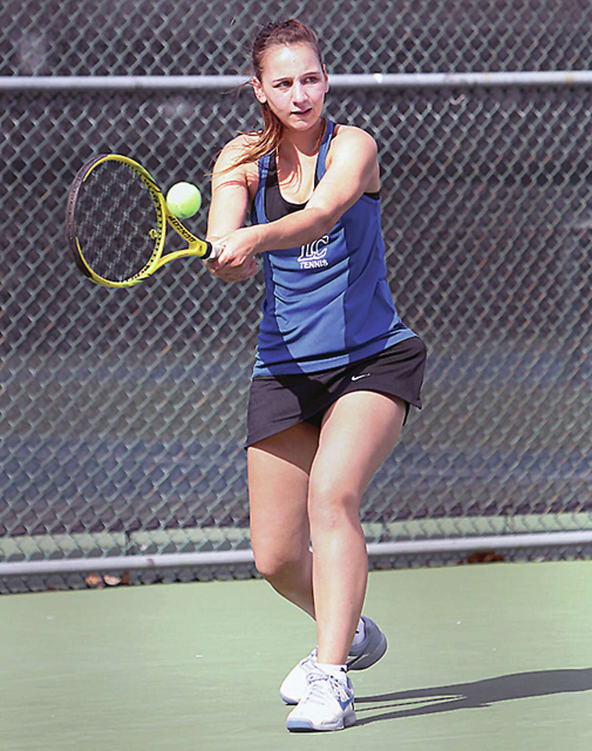 LCCC's Merl Schlaeger knocked off Rend Lake's Jade Knox at No. 1 singles, 6-0, 6-3 at No. 1 singles to help earn the Trailblazers a 9-0 win over Rend Lake and a berth at the NJCAA National tennis tournament, set for May 7-12 at Tyler Junior College in Tyler, Texas