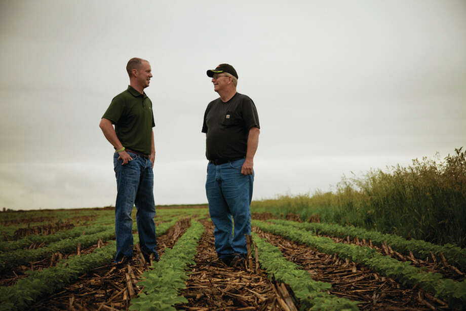Like many farmers across Illinois, Alan and Mark Hill are committed to trying new sustainable practices on their farm near Morris, Illinois. The Hills are among more than 50 farmers featured on the conservation story map, a joint project of several agriculture and conservation groups. In addition to highlighting farmers who are implementing conservation practices across Illinois, the interactive map also features local and regional programs supporting their efforts. To learn more, visit www.illinoiscbmp.org/what-illinois-farmers-are-doing/ . Photo: Photo Courtesy Of Illinois Soybean Association | For The Telegraph