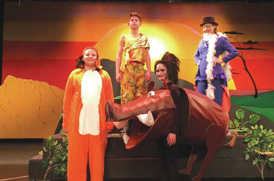 "In ""The Lion King,"" pictured from left to right is seventh grade's Collin Rorie as Timon, eighth grade's Ben Walleck as Simba and Kortni Laws as Zazu and seventh grade's Maddy Pitchford as Pumbaa. Photo: For The Telegraph"