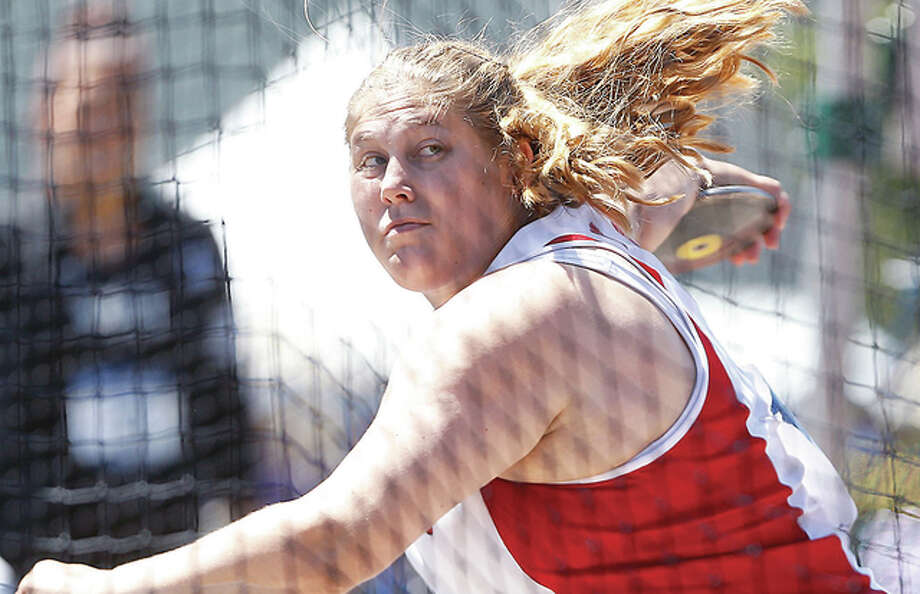 Carlinville High grad Kelsey Card, a senior at Wisconsin, threw the discus 202 feet, 3 inches at the Chula Vista Throws and Vault competition Thursday in California, breaking the Big Ten record and surpassing the Olympic standard Photo: Photo Courtesy UW Badgers Athetics