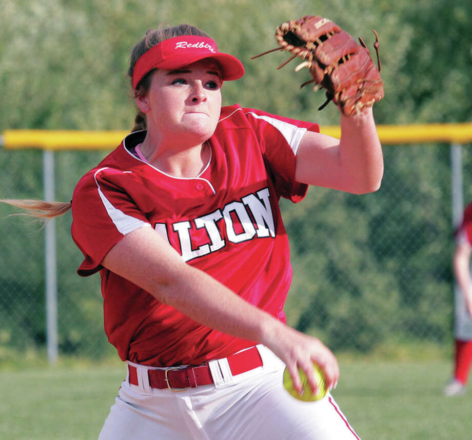 Alton's Brittany Roady delivers a pitch Friday night in the seventh inning of her complete-game victory over Civic Memorial at Alton High. Photo: James B. Ritter | For The Telegraph