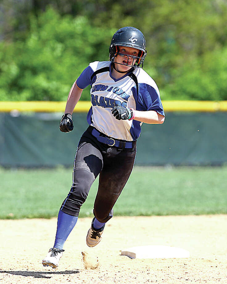 LCCC's Emily Haarmann rounds second base on an RBI triple during the seventh inning of Saturday's game against Lincoln Land in Godfrey. Billy Hurst - For the Telegraph Photo: Billy Hurst | For The Telegraph