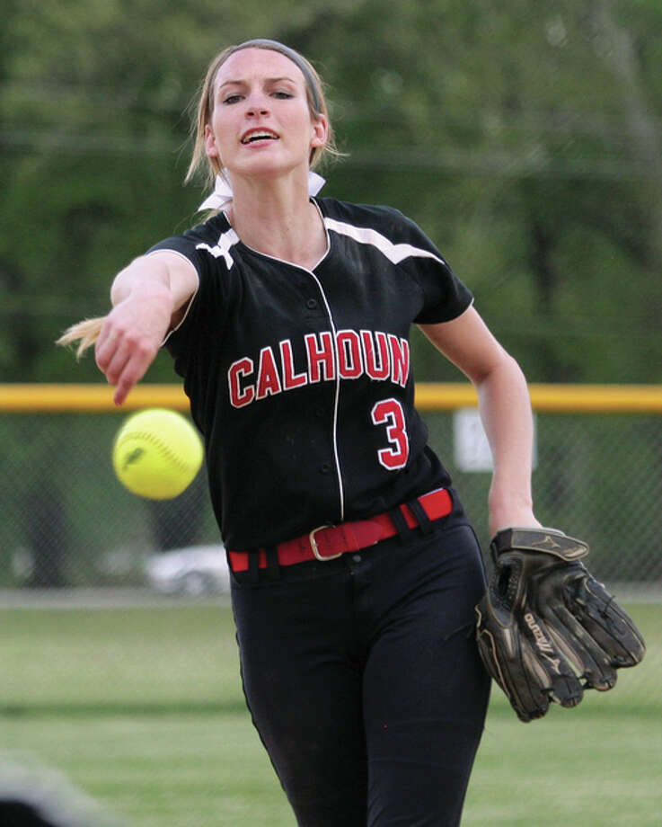 Calhoun junior Grace Baalman delivers to the plate in the seventh inning of her three-hit 2-0 victory over the Edwardsville Tigers on Monday in Hardin. Baalman's shutout was the first throw against the Tigers since 2009. Photo: James B. Ritter / For The Telegraph