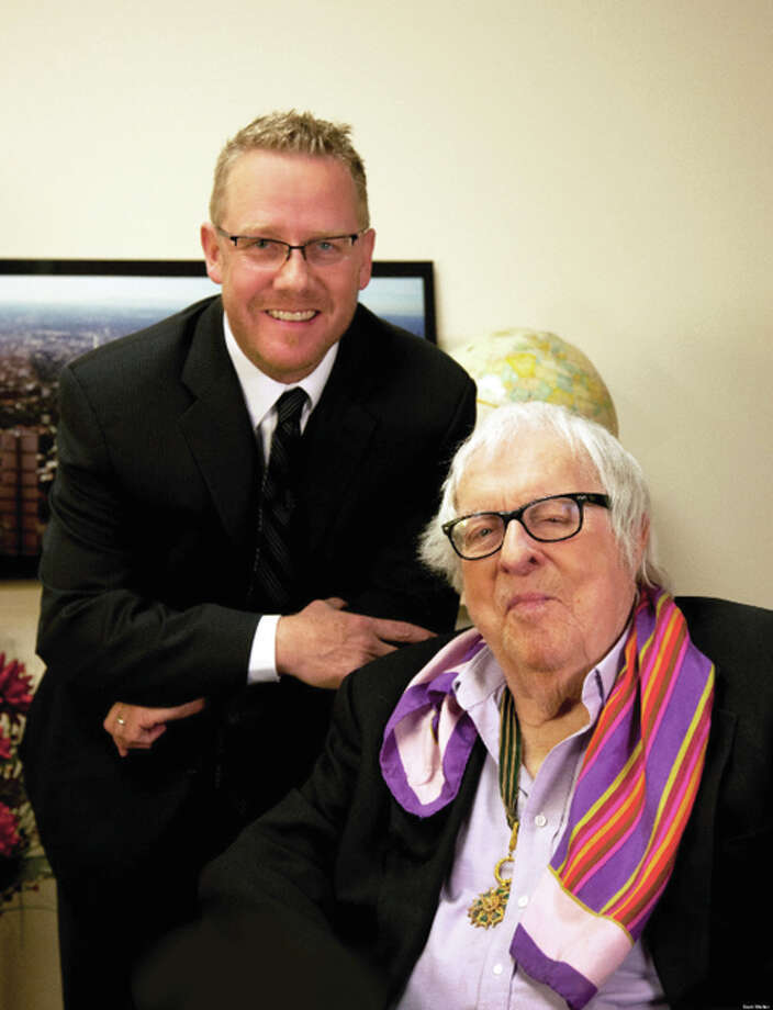 "Columbia College Professor Sam Weller, left, with the late Ray Bradbury, about whom Weller, author of ""The Bradbury Chronicles,"" will speak at 6:30 p.m. Thursday, April 28, and at 10 a.m. Friday, April 29, at Lewis and Clark Community College."