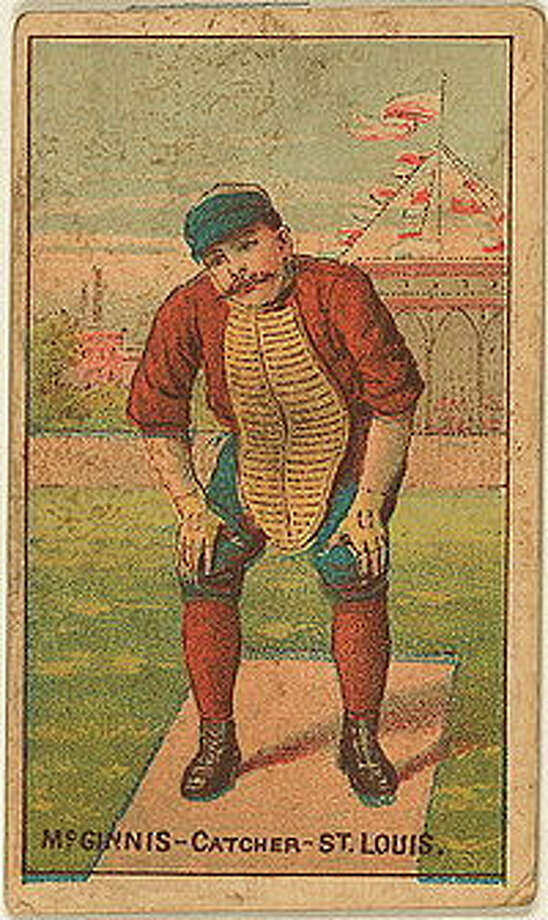 Alton native Jumbo McGinnis is featured on an 1887 Buchner Gold tobacco trading card.