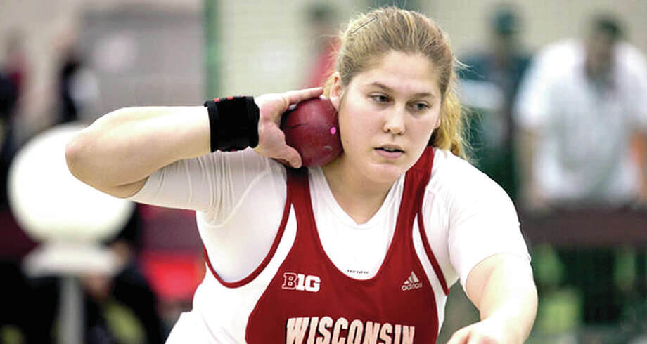 Carlinville High grad Kelsey Card, a senior at the University of Wisconsin, broke the Big Ten discus and shot put records last week and has been named Big Ten Athlete of the Week. Photo: UW Badgers Athletics