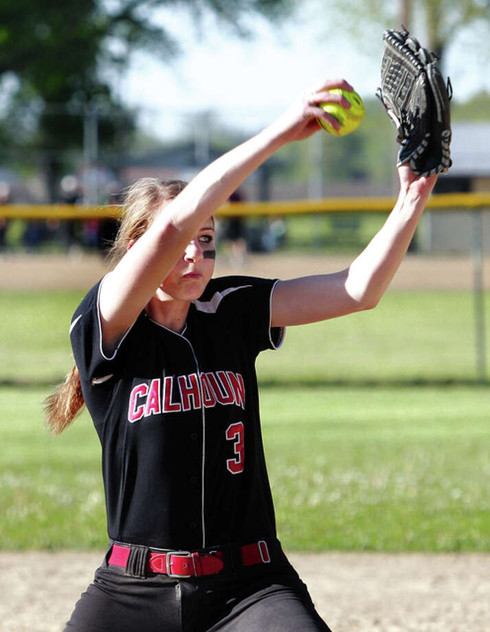 Calhoun pitcher Grace Baalman was 2 for 2 with a home run at the plate and scattered four hits from the circle in the Warriors' 3-0 win over Jersey Friday. Photo: Telegraph File Photo