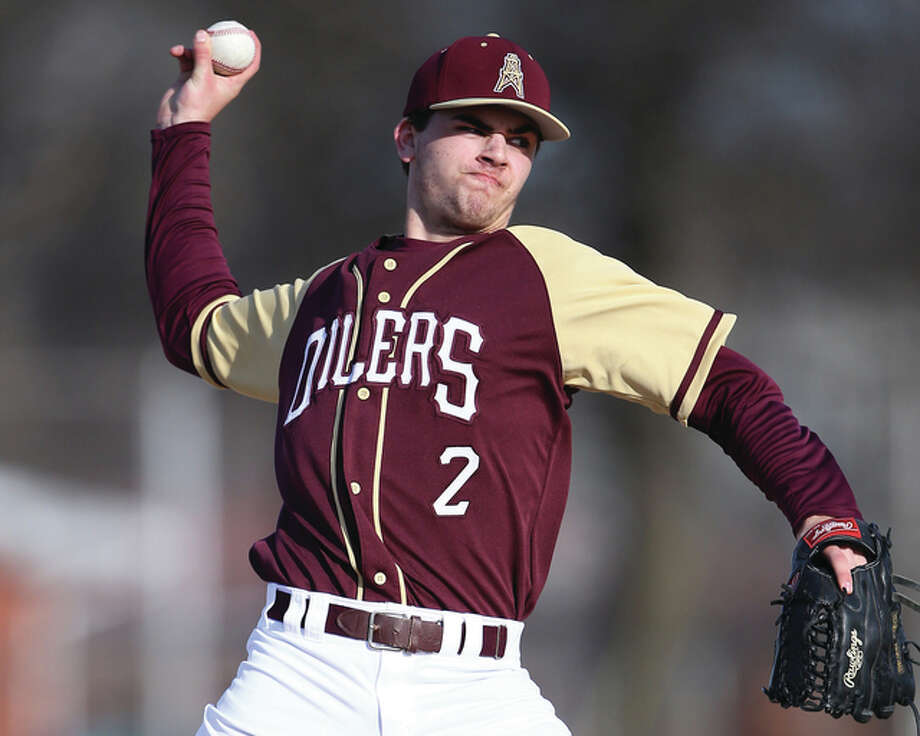 East Alton-Wood River pitcher Blake Marks struck out eight and walked two in his team's 10-3 come-from-behind victory over rival Roxana Monday at Roxana Park. Photo: Billy Hurst File Photo | For The Telegraph