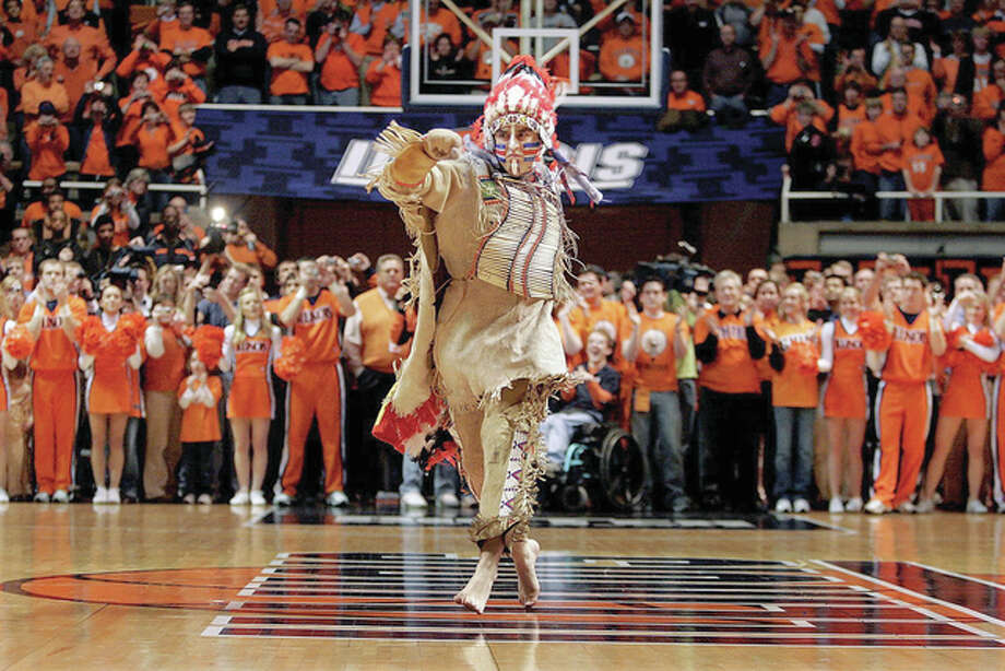 The final Chief Illiniwek, Dan Maloney of Galesburg, performs the mascot's last dance during halftime of an Illinois basketball game on at the Assembly Hall on Feb. 21, 2007. Photo: File Photo