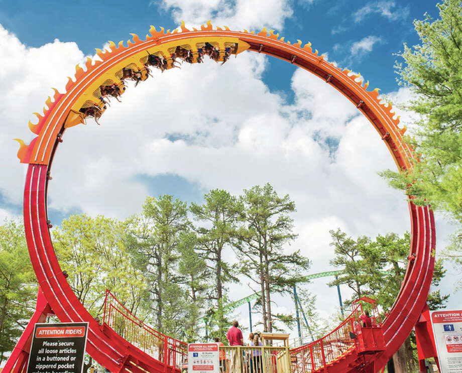 Fireball — The Ultimate Coaster Loop is located in the Illinois section of the park. The seven-story tall Fireball is set to open Saturday, May 7.