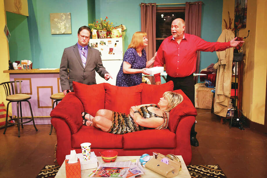 "Cutline From left, Steve Harders, Gail Drillinger, Donna Minard and Kevin Frakes create romantic mayhem in the comedy, ""Skin Deep,"" running Thursday, May 12, to Sunday, May 22, at Alton Little Theater. Photo: Pete Basola/For The Telegraph"