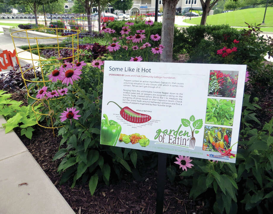 "An interpretive sign explains the different levels of heat in peppers in a pepper garden at last year's garden show, the ""Garden of Eatin'"" at Lewis and Clark Community College."
