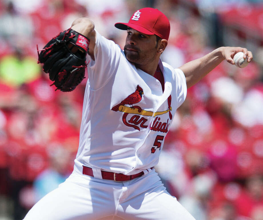 Cardinals starting pitcher Jaime Garcia works to the plate in the first of his seven shutout innings against the the Philadelphia Phillies on Thursday at Busch Stadium. Photo: Associated Press