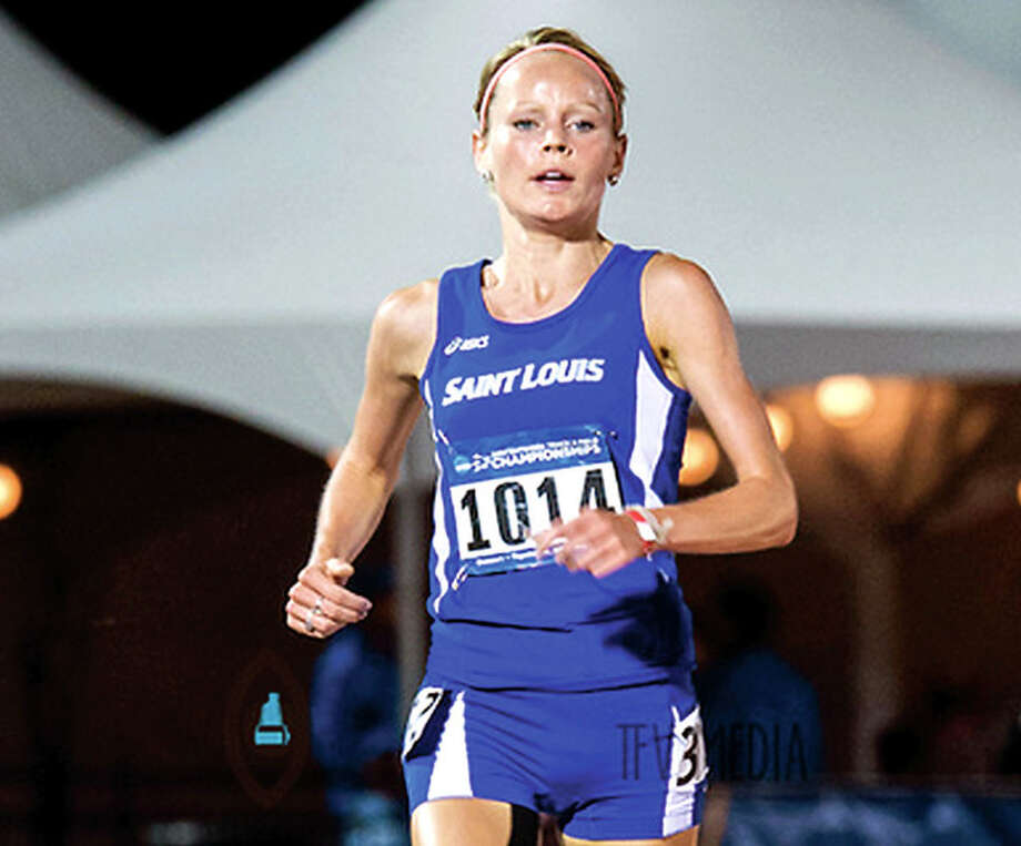 Godfrey native Jessica Hoefert ran her first marathon recently in Nashville - and finished sixth. A Marquette Catholic High grad, she's also a for Saint Louis University runner. She's shown in action during her senior season at SLU. Godfrey native Jessica Hoefert ran her first marathon recently in Nashville - and finished sixth. A Marquette Catholic High grad, she's also a for Saint Louis University runner. She's shown in action during her senior season at SLU. Photo: NCAA Photo