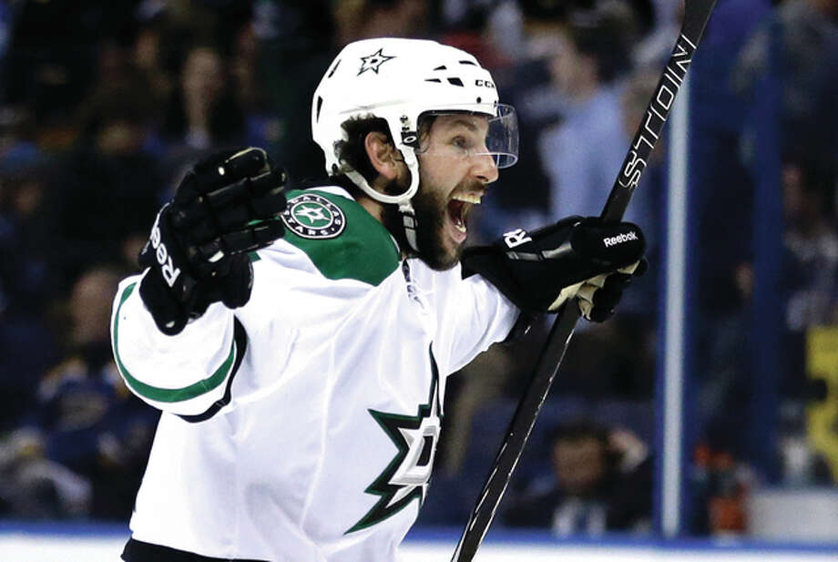 The Stars' Jason Demers celebrates after the Stars' 3-2 overtime victory against the St. Louis Blues in Game 4 of the NHL Stanley Cup Western Conference semifinals Thursday night in St. Louis. Photo: Associated Press