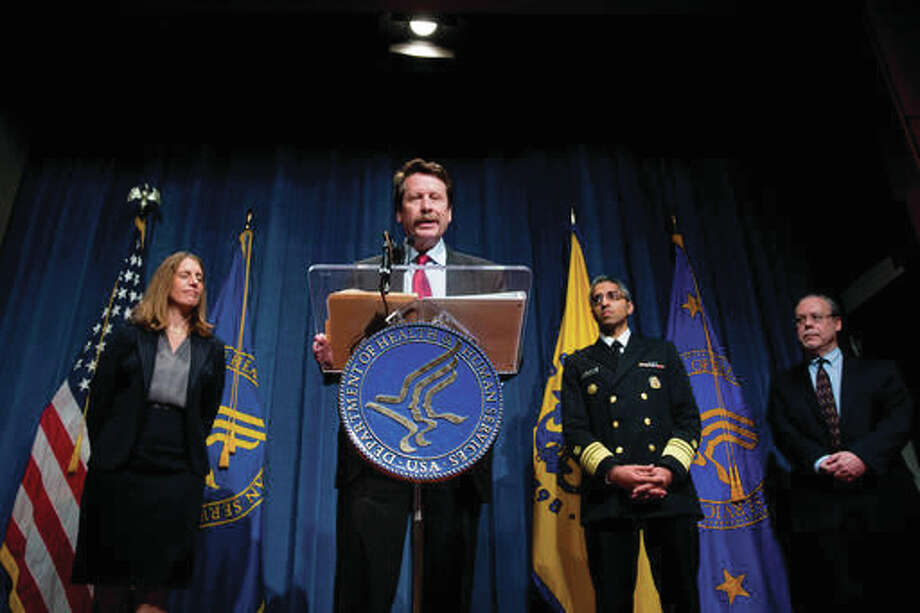 Food and Drug Administration (FDA) Commissioner Dr. Robert Califf, center, accompanied by, from left, Health and Human Services Secretary Sylvia Burwell, US Surgeon General Dr. Vivek Murthy, and FDA Center for Tobacco Products Director Mitch Zeller, speaks during a news conference at the Hubert H. Humphrey Building in Washington, Thursday, May 5, 2016, to announce new regulation extending the FDA's authority to all tobacco products including e-cigarettes. Photo: AP Photo | Andrew Harnik