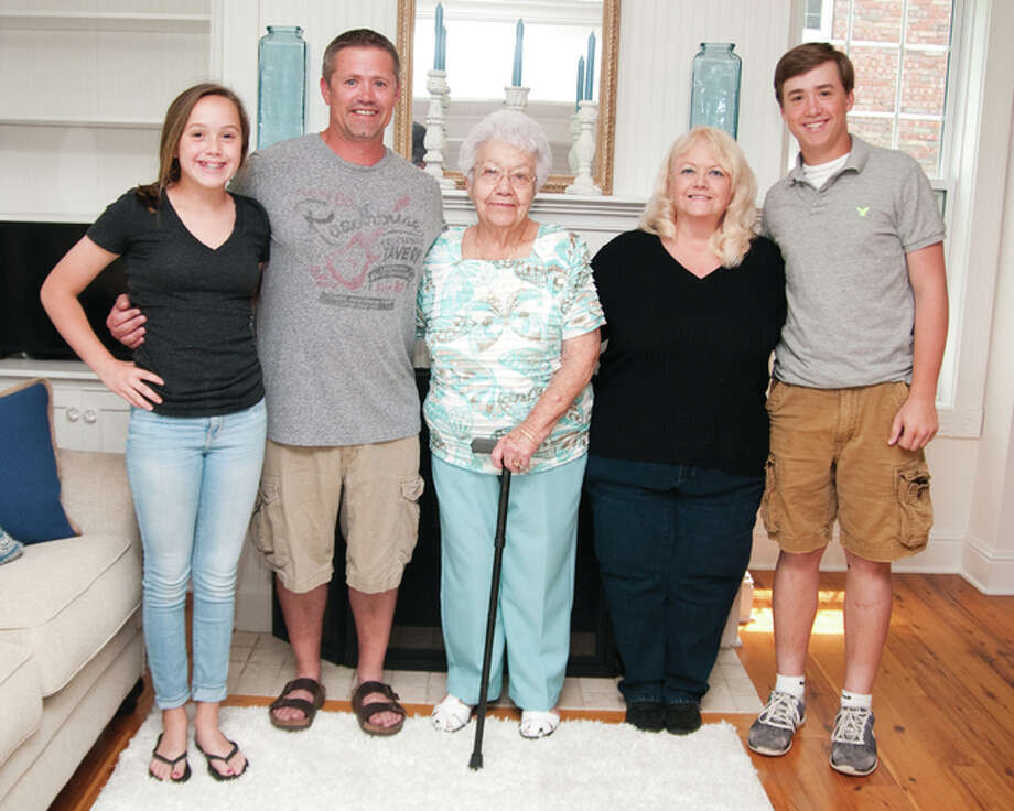 A Mother's Day celebration Sunday included four generations at a Wilson-Ottwell family gathering at 232 S. Ninth St. in Wood River. Pictured from left to right is 12-year-old Zenn Wilson, Chris Wilson, 88-year-old Clarice Moulton, Kathy VanJelgerhuis and Zaide Wilson. Photo: Dan Cruz | For The Telegraph