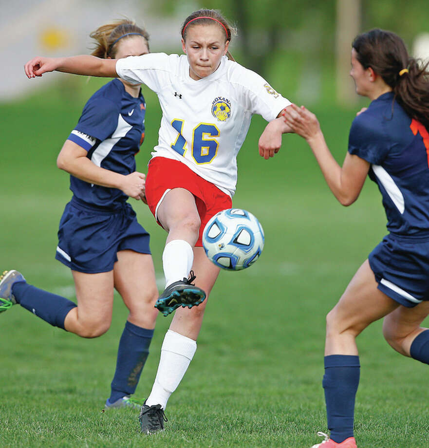 Roxana's Emma Lucas scored two goals an addded two assists for the Shells in their 7-0 win over Father McGIvney High in the semifinals of the Marquette 1A Regional at Moore Park.
