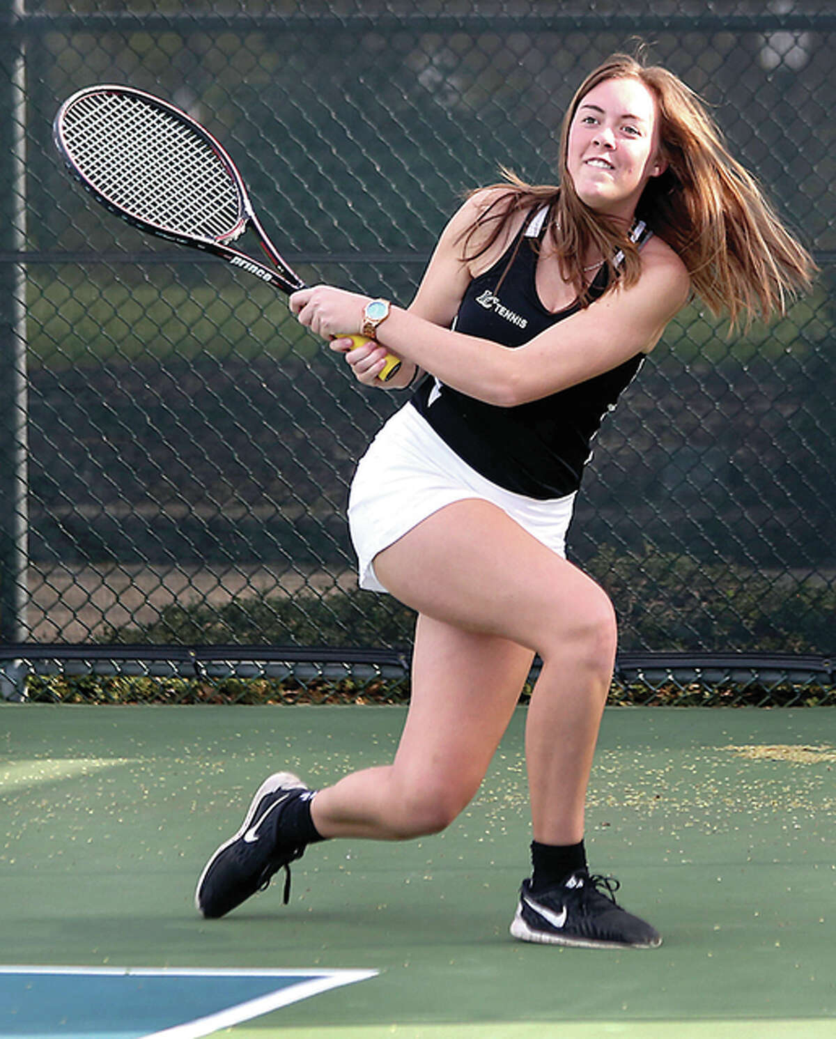 LCCC freshman Jane Greiser of Springfield, and doubles partner Maddie Swiecicki from Maryville made it to Wednesday's consolation semifinal round at the NJCAA Women's National Tennis Championships in Tyler, Texas.