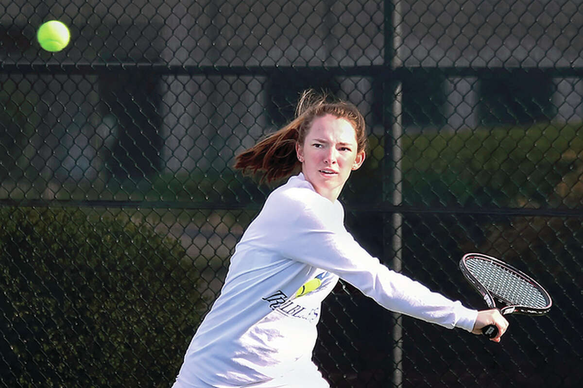 Maddie Swiecicki of LCCC and her doubles partner, Jane Greiser, advanced to the consolation semifinals of the NJCAA Women's National Tennis Championships Wednesday in Tyler, Texas.