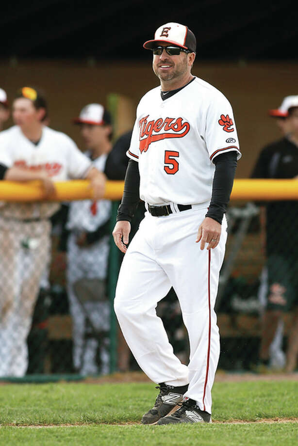 Edwardsville coach Tim Funkhouser got win No. 599 of his coaching career on Thursday when the Tigers defeated Belleville East 4-0 in a Southwestern Conference game on the artificial turf of the JV field at Edwardsville's District 7 Sports Complex. Photo: Telegraph File Photo