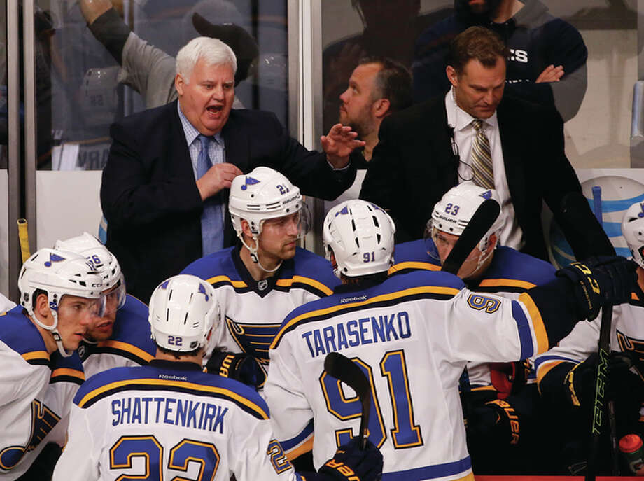 Blues head coach Ken Hitchcock talks to his team during a timeout earlier this season. the Blues will face San Jose in the Western Conference finals begining Sunday. Photo: File Photo