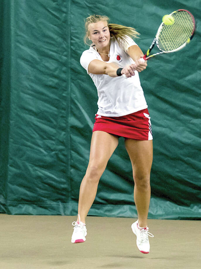 SIUE's Mia Frogner dropped a 6-0, 6-2 decision to Vanderbilt's Frances Altick Friday in the opening round of the NCAA Division I women's Tennis Tournament in Nashville, Tennessee. Photo: SIUE Athletics