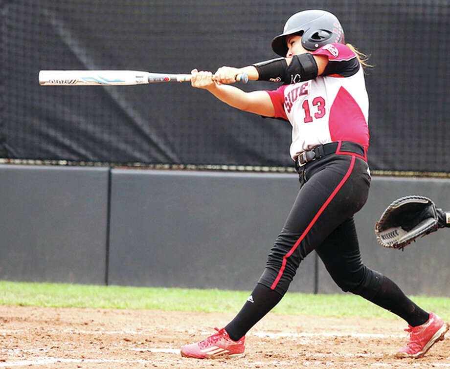 Allison Smiley of SIUE hit a home run in her team's loss to Jacksonville State Saturday in the championship game of the Ohio Valley Conference Tournament. Photo: SIUE Athletics