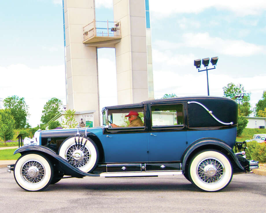 Members of the local Classic Car Club and the Jaguar Club of Greater St. Louis stopped in to the 6th Annual Lewis and Clark Confluence Tower birthday celebration.