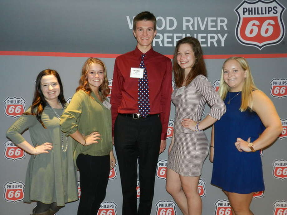 Scholarship award recipients were, from left, Allison Wyrsch of Civic Memorial High School, Tori Covington of East Alton-Wood River Community High School, Bradley Higdon of Alton High School, Emma Morrissey of Alton High School and Meredith Buller of Civic Memorial High School.