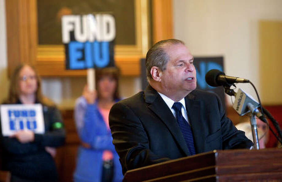 In this Feb. 23, 2016, file photo, Eastern Illinois University President David Glassman speaks at a news conference in Charleston, Ill., where officials discussed the growing impact because of the lack of state funding for schools. lllinois' long budget stalemate is making some of the state's high school seniors nervous about attending state-supported schools. A review of admissions data by The Associated Press finds that applications for the fall semester are down at multiple of the state's public university campuses, all of them smaller, less well-financed schools. Photo: Kevin Kilhoffer/Charleston Times-Courier Via AP, File