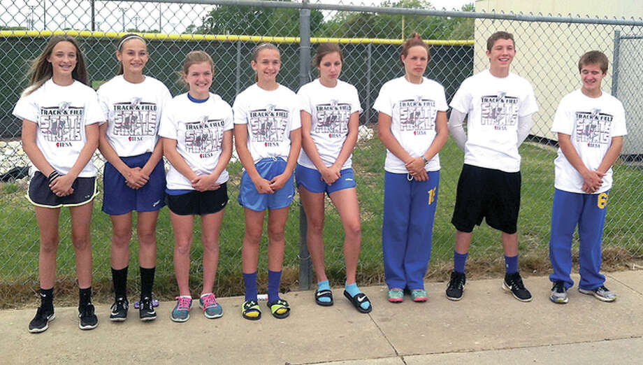 The eight Trimpe Middle School athletes who qualified for the Illinois Elementary School Association state track meet included, from left: Addison Callies, Hannah Sontag, Ryanne Clendenn, Harper Buhs, Kayleigh Finegan, McKenzie Staggs, Mason Schlemer and Matthew Olbert. Photo: Submitted Photo