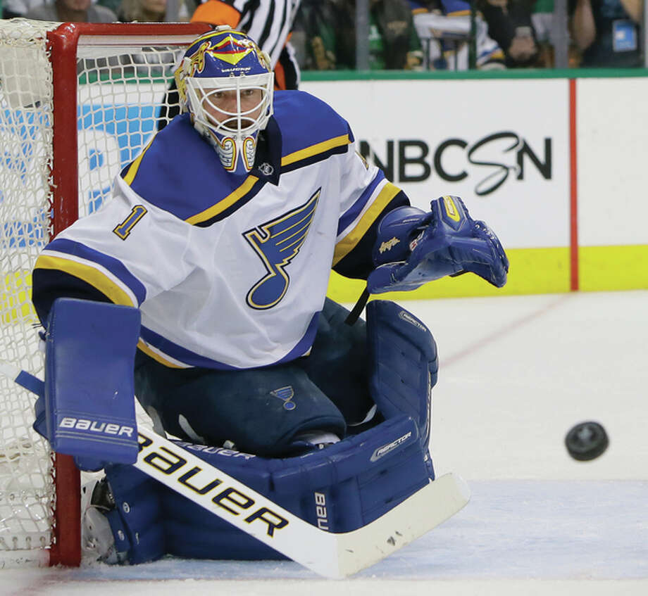 Blues goalie Brian Elliott will get the start in Game 6 of the Western Conference finals Wednesday night in San Jose. He is shown in action earlier in the playoffs against Dallas. Photo: AP Photo