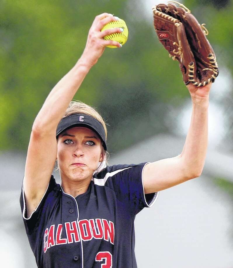 Calhoun's Grace Baalman delivers a pitch during her perfect game aganst Brown County on Tuesday at the Liberty Class 1A Sectional. Photo: Dennis Mathes, Journal-Courier | For The Telegraph