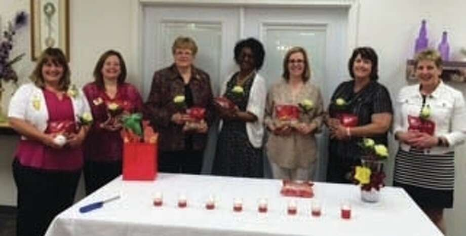 Pictured are Zonta Club of Alton-Wood River new incoming 2016-17 officers, left to right, President Karen Weible, of Fieldon; Vice President April Mitchell, of Godfrey; Treasurer Linda Votaw, of Bethalto; Corresponding Secretary Georgia Bratton, of Alton; Recording Secretary Cathy Elliott, of St. Louis; board member Neeta McClintock, of Godfrey; and, board member JoEllen Corona, of Alton. Not pictured are board members Linda Nevlin and Angela McDowell, both of Godfrey. Photo: For The Telegraph