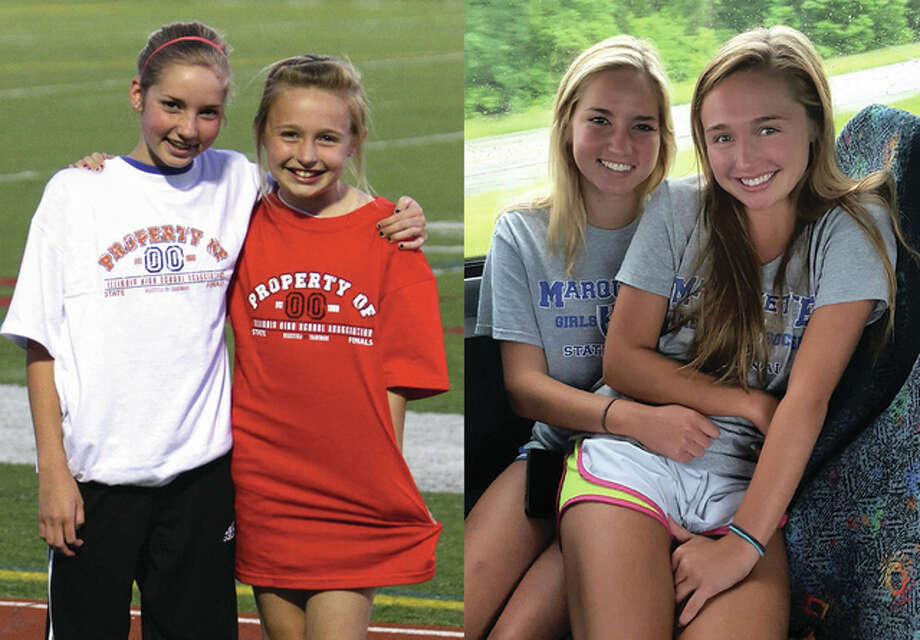 Marquette soccer players Bailey Hartrich (left in each photo) and Annie Tassinari are pictured at left when they served as ball girls for at the 2009 IHSA Class 1A State Tournament and at right as Marquette teammates riding the team bus Friday north to Naperville to this year's Class 1A state finals. Photo: For The Telegraph