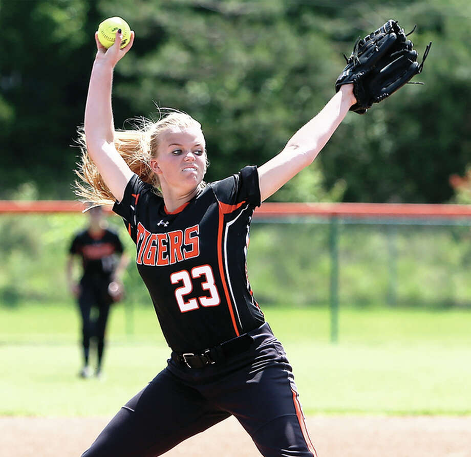 Edwardsville junior pitcher Jordan Garella works to the plate Saturday during her win over the Belleville East Lancers in the championship game of the Edwardsville Class 4A Regional. Photo: Scott Kane / For The Telegraph