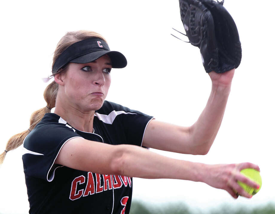 Calhoun junior Grace Baalman delivers a pitch while striking out 26 Casey-Westfield batters in a 1-0 13-inning shutout to win the Springfield Class 1A Super-Sectional at the Land of Lincoln Junior Olympics Softball Complex Photo: Dennis Mathes | Journal-Courier