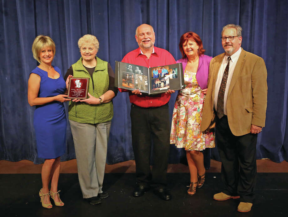 From left, Donna Minard, Linda Fergurson, Kevin Frakes, Lee Cox and Mark Bacus are just a few of Cliff Davenport's former students who will perform at the upcoming re-dedication of the Alton Middle School Auditorium in Davenport's honor. Photo: Pete Basola | For The Telegraph