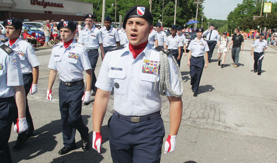 Members of the Alton High School Junior Air Force ROTC march in the 149th annual Alton Memorial Day Parade Monday.