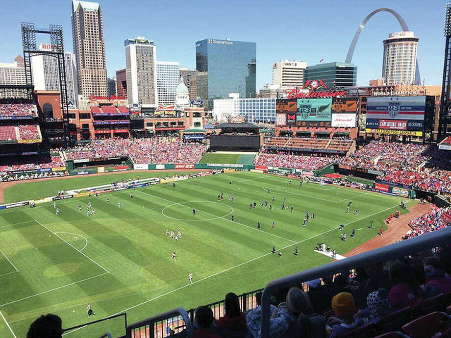 A record crowd of more than 35,000 watched the U.S. Women's National Soccer Team play a friendly match against New Zealand last year at Busch Stadium. It was announced Wednesday that Liverpool F.C. and A.S. Roma will play at Busch in a friendly match on Aug. 1. Photo: Telegraph File Photo