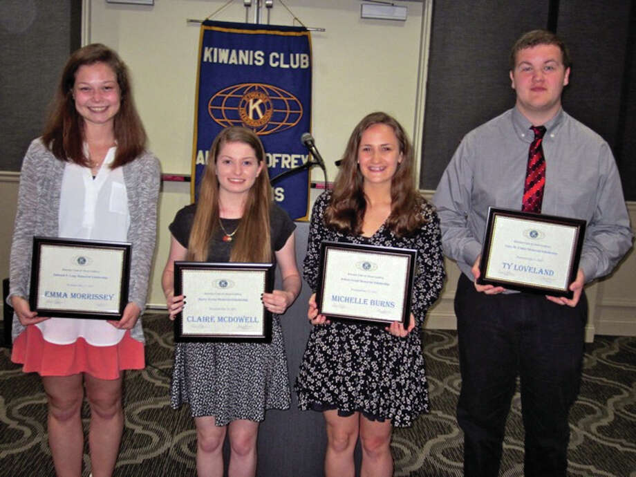 Award recipients, from left, Emma Morrissey, Claire McDowell, Michelle Burns and Ty Loveland.